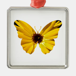 Yellow flower butterfly silhouette Silver-Colored square decoration
