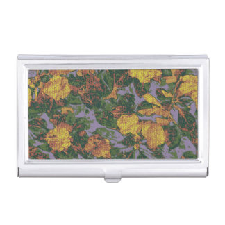 Yellow flower camouflage pattern business card holder