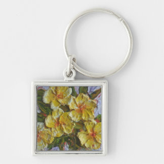 Yellow Flower Cluster Silver-Colored Square Key Ring