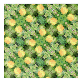 Yellow Flower Dapple 755 cropped Fractal Diagonal Acrylic Wall Art