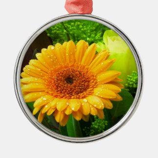 Yellow Flower Design Christmas Ornament