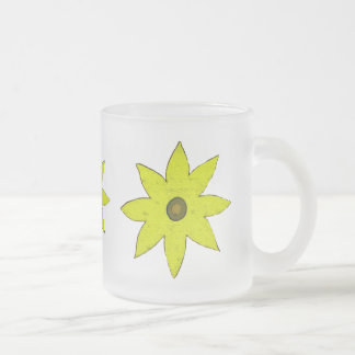 yellow flower frosted glass mug