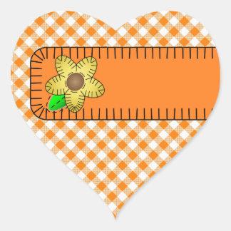 Yellow Flower  Gingham Background Heart Sticker