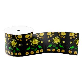 yellow flower green bird ribbon grosgrain ribbon