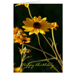 Yellow Flower Happy Birthda Card
