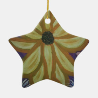 Yellow Flower.jpg Ceramic Star Decoration