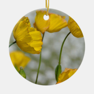Yellow flower magic christmas ornament