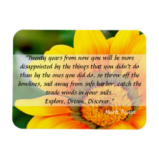 Yellow Flower Magnet with Inspirational Quote