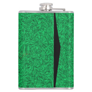 Yellow flower on green background hip flask