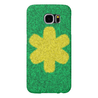 Yellow flower on green background samsung galaxy s6 cases
