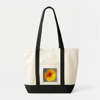 yellow flower on houndstooth impulse tote bag