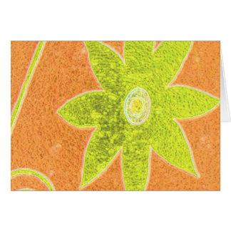yellow flower on orange greeting card