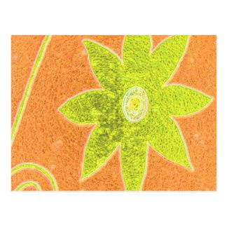 yellow flower on orange postcard