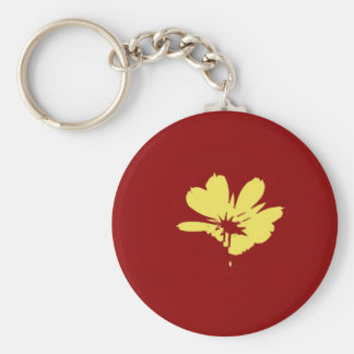 Yellow Flower on Red Background - Fine art Basic Round Button Key Ring