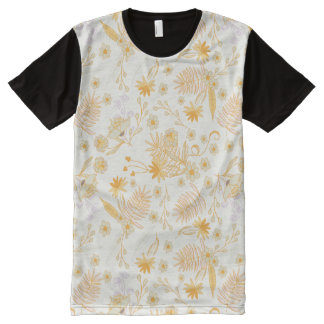 Yellow Flower Pattern All-Over Print T-Shirt