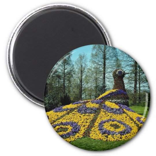yellow Flower peacock, Mainau flowers 6 Cm Round Magnet