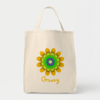 Yellow Flower Power Groovy Grocery Tote Grocery Tote Bag