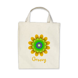 Yellow Flower Power Groovy Organic Grocery Tote Tote Bags