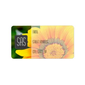 Yellow Flower Return Address Labels