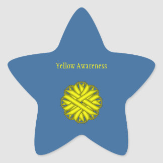 Yellow Flower Ribbon Star Sticker