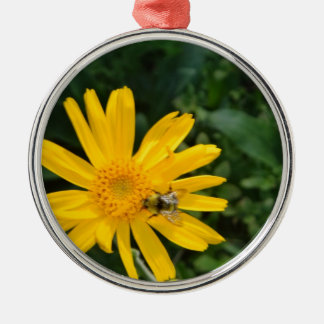 yellow flower with bee christmas ornament