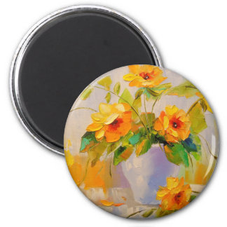 Yellow flowers, 6 cm round magnet