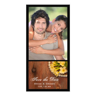 Yellow Flowers and Barn Wood Wedding Save the Date Photo Card Template