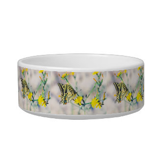 Yellow Flowers and Beautiful Butterfly Pet Bowl