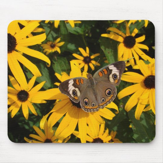 Yellow Flowers and Butterfly Mouse Pad
