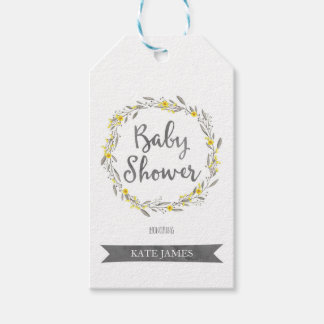 Yellow Flowers and Grey Leaves Wreath Baby Shower Gift Tags