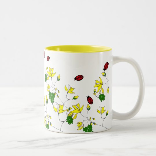 Yellow Flowers and Little Ladybugs Mug