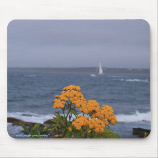 Yellow flowers and ocean photography mousepad