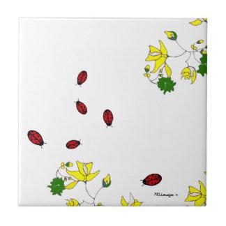 Yellow Flowers and Six Little Ladybugs Tile