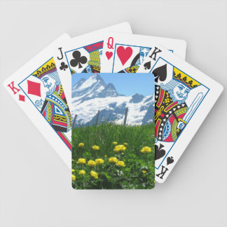 Yellow flowers and snowy mountains bicycle playing cards