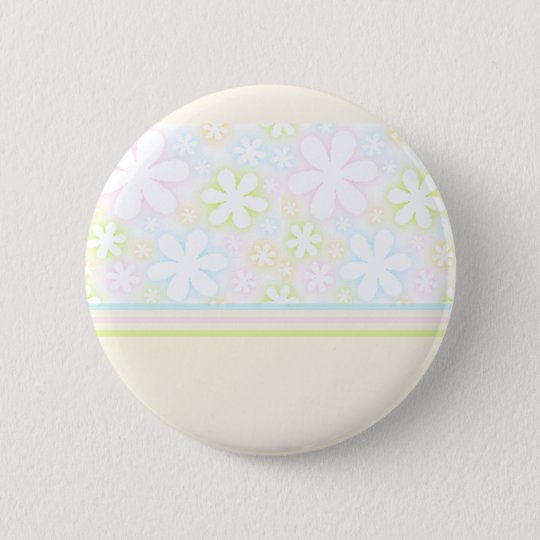 yellow flowers and stripes 6 cm round badge