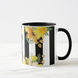 Yellow flowers and stripes mug