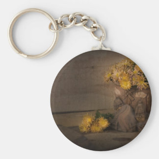yellow flowers basic round button key ring