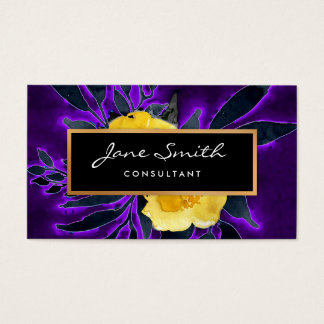 Yellow Flowers, Black and Purple Floral Business Card