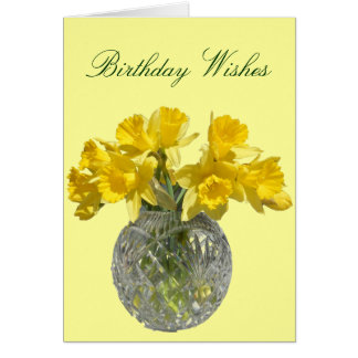 Yellow Flowers Daffodil Birthday Wishes Note Card