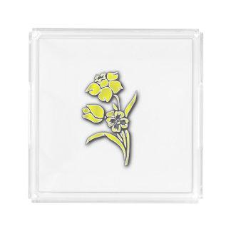 Yellow Flowers Daffodil on White Acrylic Tray