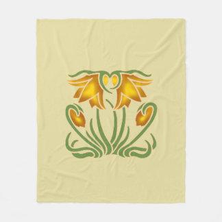 Yellow Flowers Fleece Blanket, Medium