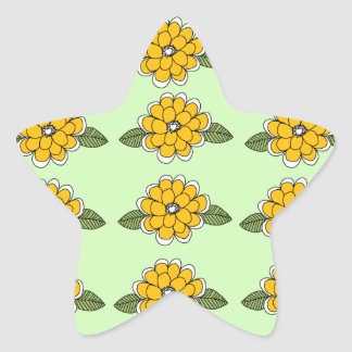 Yellow Flowers Green Star Sticker