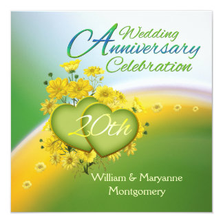 Yellow Flowers Hearts 20th Anniversary Party 13 Cm X 13 Cm Square Invitation Card