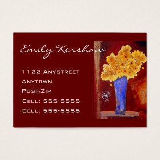 Yellow Flowers In Blue Vase Business Card