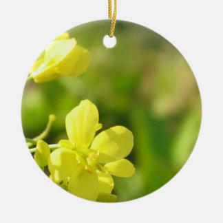 Yellow flowers macro photography round ceramic decoration