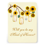 Yellow Flowers Mason Jars Maid Of Honour Card Personalised Invitations