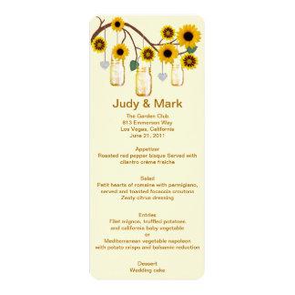 Yellow Flowers Mason Jars Menu Card 10 Cm X 24 Cm Invitation Card