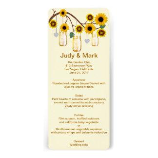 Yellow Flowers Mason Jars Menu Card