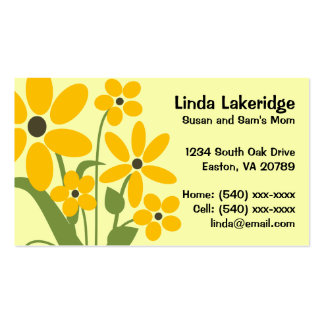 Yellow Flowers Mommy Contact  Info Card Pack Of Standard Business Cards