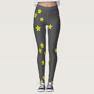 Yellow flowers on gray background leggings